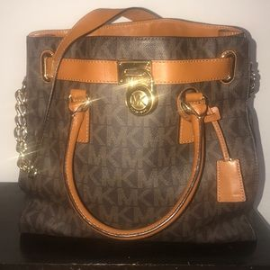Michael Kors Large Logo and Leather Satchel